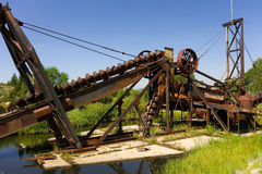 an old gold dredge on display in idaho Stock Image