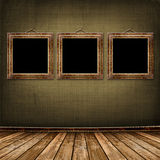 Old gold frames Victorian style on the wall Royalty Free Stock Photos