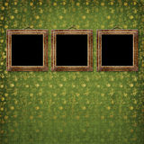 Old gold frames Victorian style on the wall Stock Photo