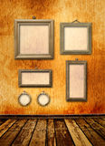 Old gold frames Victorian style on the wall Royalty Free Stock Image