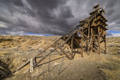 Old gold mining sluice life head frame Royalty Free Stock Image