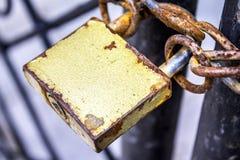 Old gold padlock Stock Photo