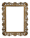 Old gold  picture frame, isolated on white background Royalty Free Stock Image