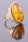 Old gold ring with inset amber Royalty Free Stock Images