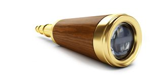 Old gold telescope on a white background 3D illustration, 3D rendering stock photography