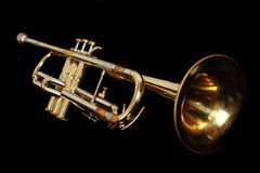 Old gold trumpet Royalty Free Stock Photo
