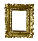 Old gold vintage picture frame isolated on white Stock Photography