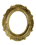 Old gold vintage picture frame on white royalty free stock images