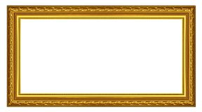 The old gold wooden frame. The old antique gold frame over white background Royalty Free Stock Photos