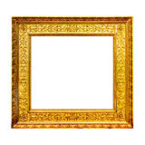 Old gold wooden frame isolated on white Royalty Free Stock Photo