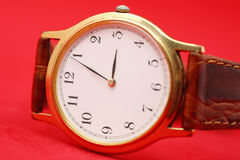 Old gold wristwatch Stock Photo