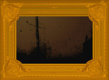 Old golden border frame with abstract painting. Stock Photos
