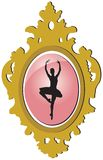 Old golden brooch with ballerina silhouette Royalty Free Stock Photos