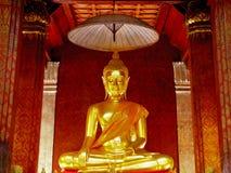 Old golden Buddha statue. Inside Wat Yai Suwan Naram Temple, Phetchaburi, Thailand. Wat Yai Suwan Naram is very old temple Stock Photo