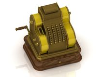Old golden cash register Stock Images