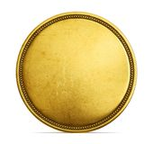 Coin. Old golden coin isolated on a white. 3d illustration, 3d render Stock Photos