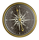 Old golden compass with dark face isolated Stock Photo