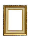Old golden empty picture frame isolated Stock Photography
