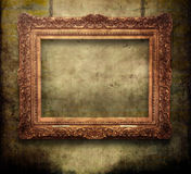 Old golden frame. Old frame on grunge background royalty free stock image