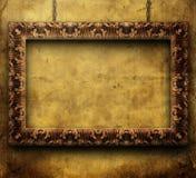 Old golden frame. Old frame on grunge background royalty free stock photos