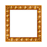 Old golden frame with empty canvas for your picture photo image. Beautiful vintage background Royalty Free Stock Photo