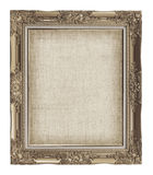 old golden frame with empty grunge linen canvas for your picture Royalty Free Stock Photo