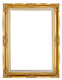Old Golden frame. Isolated on white Stock Images