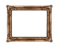 Old golden frame. Very old golden frame isolated on white background Stock Photos