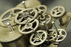 Old golden gears stock photography