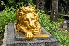 Old golden lion sculpture. The old golden lion sculpture in Gagra city in Abkhazia Stock Images