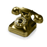 Old Golden phone. It's a gold phone. The clipping path clips only phone out, not the reflection Royalty Free Stock Photo