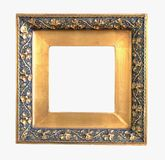 Old golden picture frame. Isolated stock image