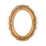 Old golden picture frame. Isolated on the white background Royalty Free Stock Photos