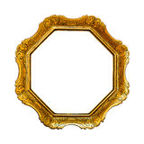 Old golden  picture frame, isolated on white background Royalty Free Stock Photos