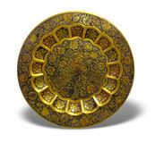 Old golden plate with oriental ornament Royalty Free Stock Image