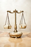 Old golden scale. Vintage balance scales. Scales balance. Antique scales, law and justice symbol. Isolated Royalty Free Stock Image
