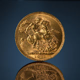 Old golden sovereign coin Royalty Free Stock Image