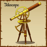 Old golden telescope pointing up Royalty Free Stock Photo