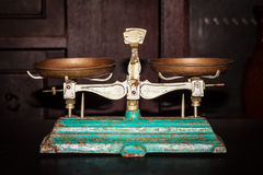 Old Golden weighing scale balance, Ancient old scale, Vintage old brass weight scale for people who like to collect the antique o. Bjects stock images