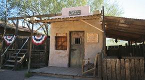 An Old Goldfield Ghost Town Jail, Arizona Stock Photo