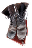 Old good boots at vintage suitcase Royalty Free Stock Images