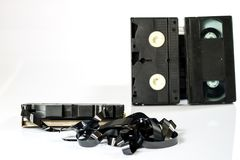 Old good video cassettes. Dusty family recordings on solid data Royalty Free Stock Images