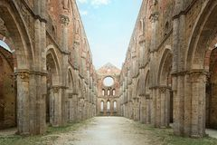 Old Gothic abbey - Abbey of San Galgano, Tuscany, Italy Royalty Free Stock Photo