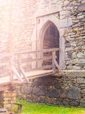 Old gothic arc gate in medieval stone castle ruin.  Stock Image