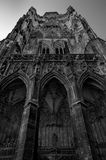 Old gothic cathedral in dramatic black and white shot Royalty Free Stock Images