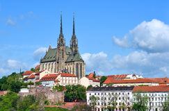 Old gothic cathedral on a hill above town Royalty Free Stock Image