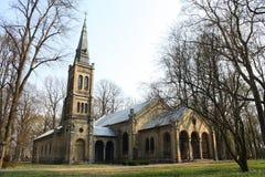 Old gothic church. On abandoned Pokrov cemetery in Riga, Latvia Royalty Free Stock Photo