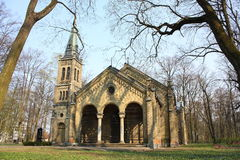 Old gothic church. On abandoned Pokrov cemetery in Riga, Latvia Stock Image
