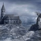 Old gothic church on the hill Stock Images