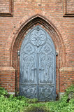 Old gothic church metal door Stock Photo